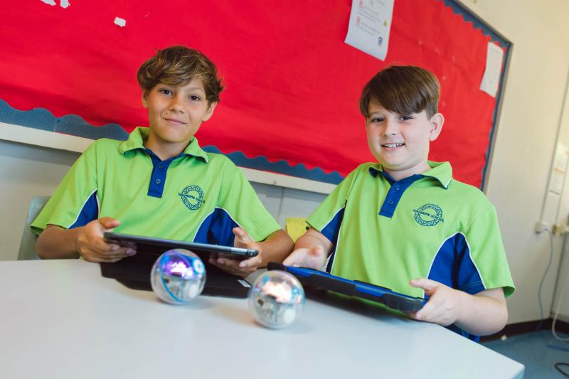 Students learning robotics