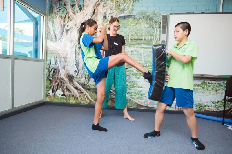 Students learning martial arts